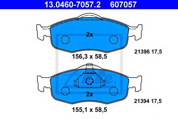 ATE 13.0460-7057.2 Комплект тормозных колодок, дисковый тормоз