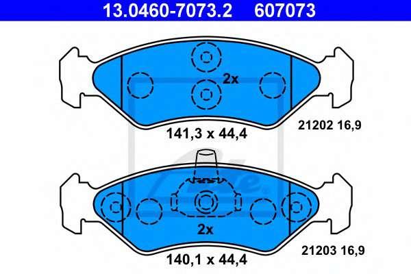 ATE 13.0460-7073.2 Комплект тормозных колодок, дисковый тормоз