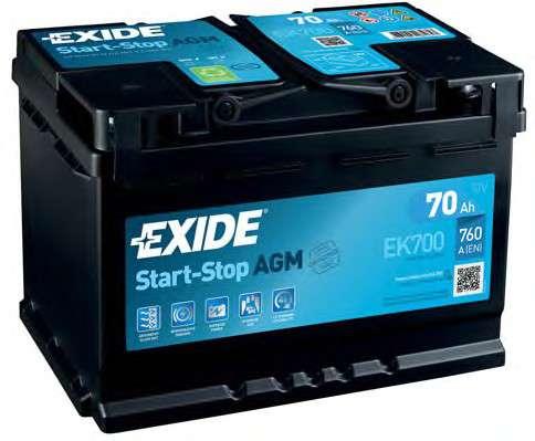 EXIDE EK700 Стартерная аккумуляторная батарея; Стартерная аккумуляторная батарея