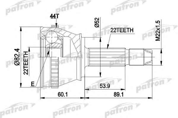 PATRON PCV1232 Шарнирный комплект, приводной вал