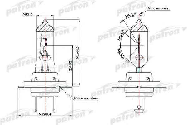 PATRON PLH7-12/55 Лампа накаливания, фара дальнего света; Лампа накаливания, основная фара; Лампа накаливания, противотуманная фара; Лампа накаливания, основная фара; Лампа накаливания, фара дальнего света; Лампа накаливания, противотуманная фара; Лампа накаливания, фара с