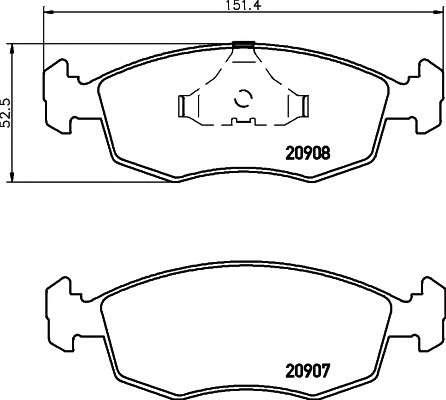 TEXTAR 2090802 Комплект тормозных колодок, дисковый тормоз