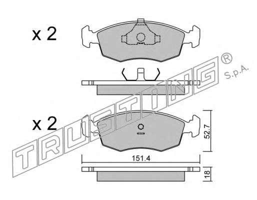 TRUSTING 096.2 Комплект тормозных колодок, дисковый тормоз