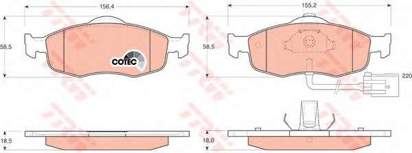 TRW GDB1108 Комплект тормозных колодок, дисковый тормоз