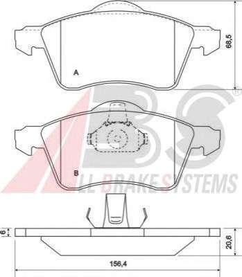 Запчасть 36986 A.B.S. Колодка торм. диск. VW TRANSPORTER (15\ вент.) передн. (пр-во ABS) фото