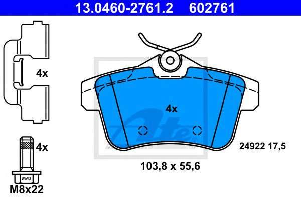 Запчасть 13.0460-2761.2 ATE Комплект тормозных колодок, дисковый тормоз фото