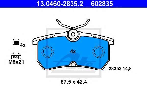 Запчасть 13.0460-2835.2 ATE Комплект тормозных колодок, дисковый тормоз фото