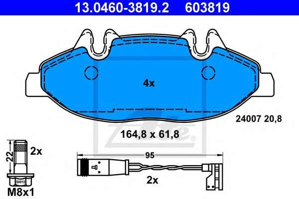 Запчасть 13.0460-3819.2 ATE Комплект тормозных колодок, дисковый тормоз фото