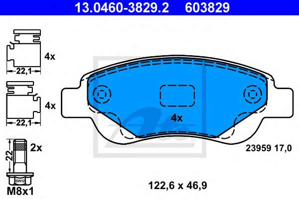 Запчасть 13046038292 ATE Колодки гальмівні дискові, к-т фото