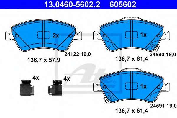 Запчасть 13.0460-5602.2 ATE Комплект тормозных колодок, дисковый тормоз фото