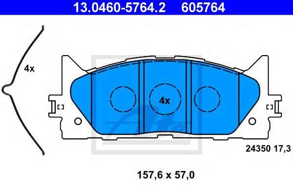 Запчасть 13.0460-5764.2 ATE Тормозные колодки фото