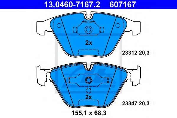 Запчасть 13.0460-7167.2 ATE Комплект тормозных колодок, дисковый тормоз фото
