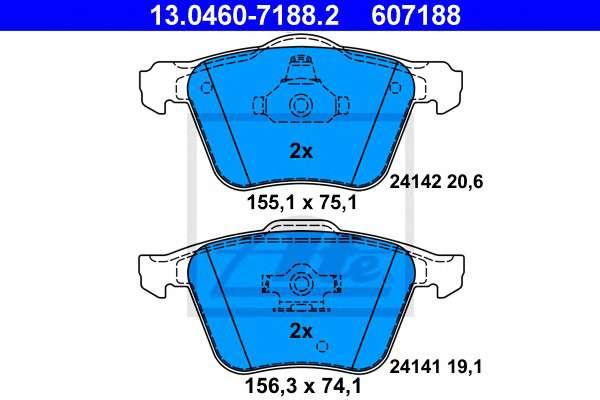 Запчасть 13.0460-7188.2 ATE Комплект тормозных колодок, дисковый тормоз фото