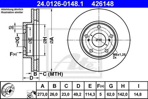 Запчасть 24.0126-0148.1 ATE Гальмiвний диск фото