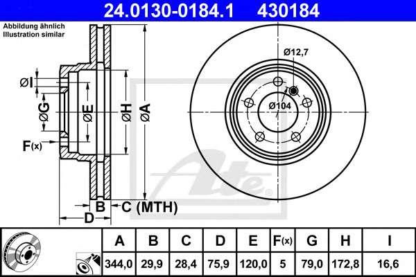 Запчасть 24.0130-0184.1 ATE Тормозной диск фото