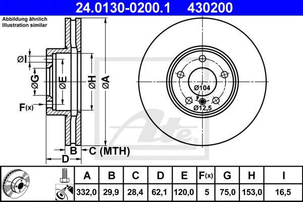 Запчасть 24.0130-0200.1 ATE Тормозной диск фото