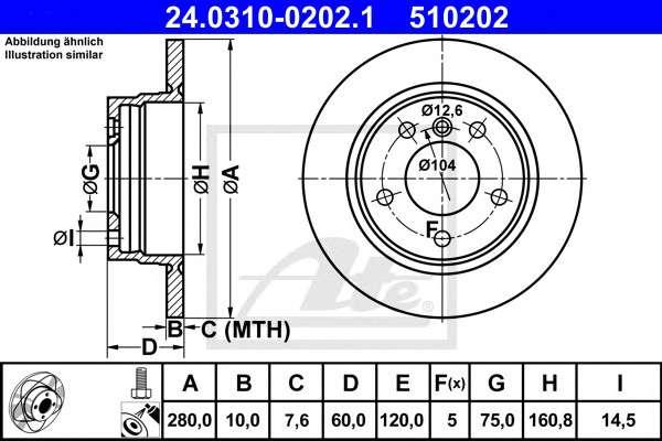 Запчасть 24.0310-0202.1 ATE Гальмівні диски фото