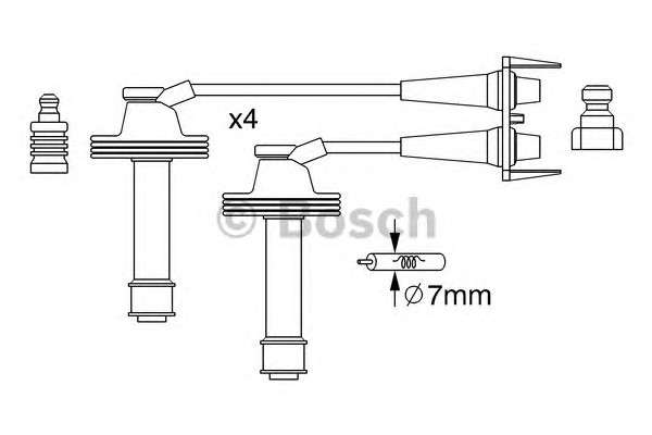 Запчасть 0986357238 BOSCH Комплект кабелів високовольтних фото