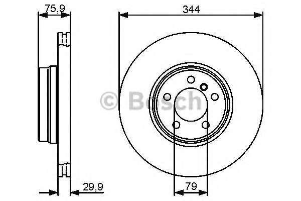 Запчасть 0986479475 BOSCH Гальмівний диск LAND ROVER Range Rover III 3,0TD-4,4 02- F фото