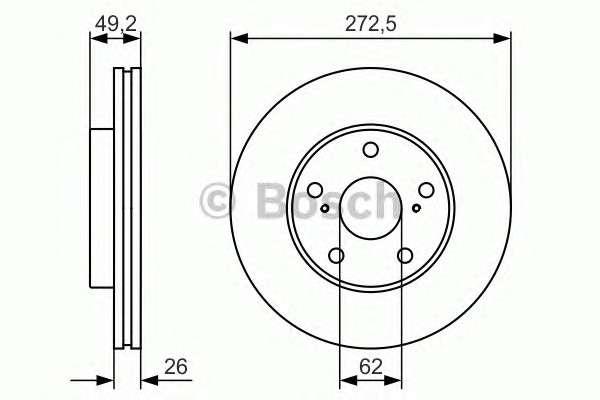 Запчасть 0986479R45 BOSCH Гальмівний диск TOYOTA Corolla ''F ''1.4-1.8 PR2 фото