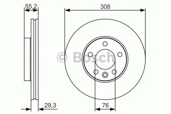 Запчасть 0 986 479 R84 BOSCH Диск тормозной VW T5 передн., вент. (пр-во Bosch) фото