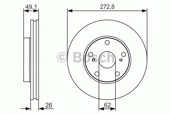 Запчасть 0986479S16 BOSCH Гальмівний диск TOYOTA Auris/Corolla ''F ''1,3-2,0 ''08>> PR2 фото
