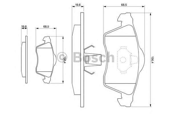 Запчасть 0 986 494 008 BOSCH Колодка торм. диск. VW T4 (70XB, 70XC, 7DB, 7DW) передн. (пр-во Bosch) фото