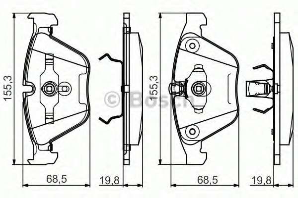 Запчасть 0986495082 bosch Комплект тормозных колодок, дисковый тормоз