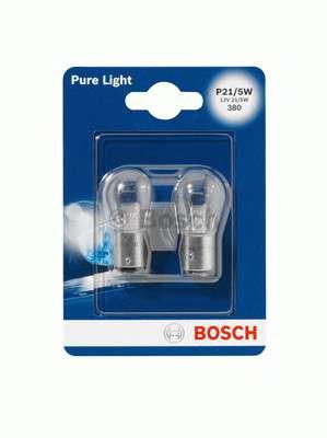 Запчасть 1 987 301 016 BOSCH Лампа накаливания P21/5W 12V 21/5W PURE LIGHT (blister 2 шт) (пр-во Bosch) фото