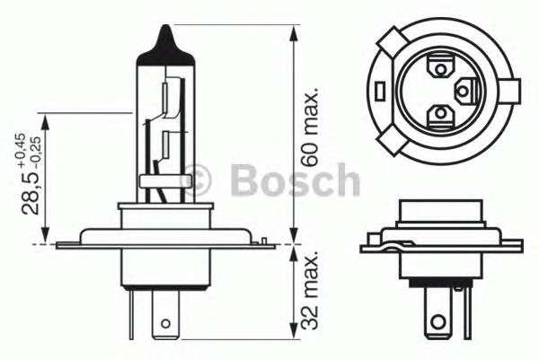 Запчасть 1987302049 bosch Лампа накаливания, фара дальнего света; Лампа накаливания, основная фара; Лампа накаливания, противотуманная фара