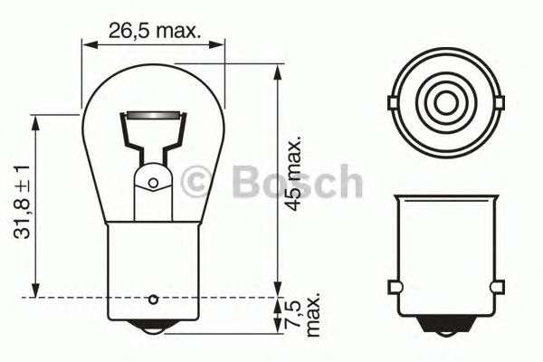Запчасть 1987302280 bosch Лампа накаливания, фонарь указателя поворота; Лампа накаливания, фонарь сигнала торможения; Лампа накаливания, задняя противотуманная фара; Лампа накаливания, фара заднего хода; Лампа накаливания, задний гарабитный огонь