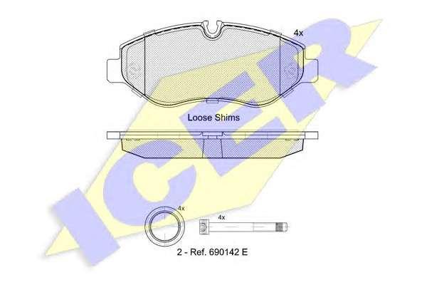 Запчасть 141786 ICER Колодки тормозные (передние) MB Sprinter (906) /Vito (639) (Brembo PF 2.4) фото