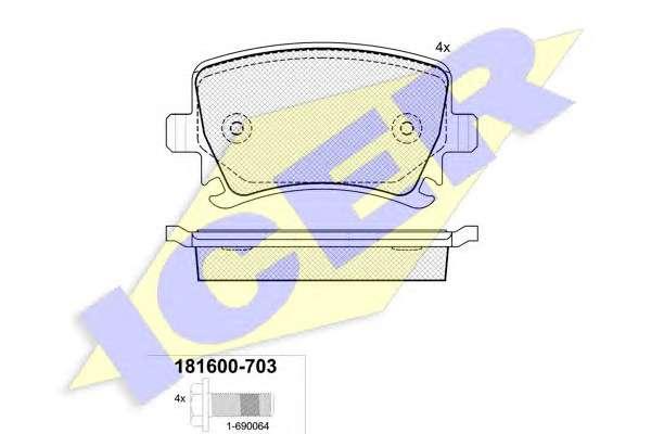Запчасть 181600-703 ICER Колодки тормозные (задние) VW Caddy/Golf/Passat/Audi A4/A6 03- (TRW) фото