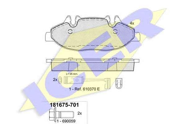Запчасть 181675 ICER 181675-701 Колодки тормозные (передние) MB Vito (639) 03- (Bosch)/(с датчиками) фото