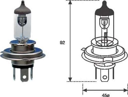 Запчасть 002555100000 MAGNETI MARELLI H4 12 Лампа накаливания (H4 12V 60/55W) фото