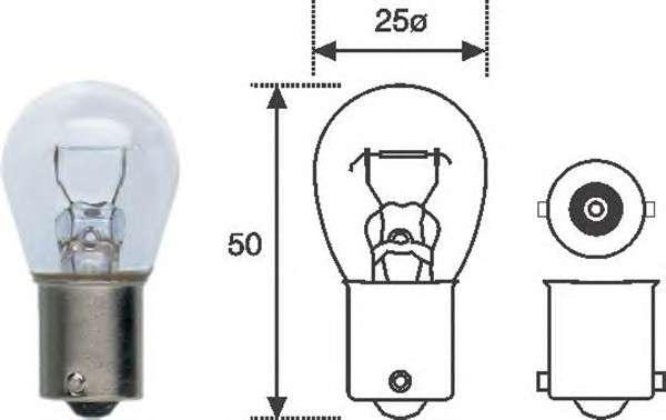 Запчасть 008506100000 MAGNETI MARELLI Лампа накаливания P21W 12V 21W BA15d (пр-во Magneti Marelli) фото