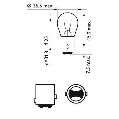 Запчасть 12499b2 philips Лампа накаливания, фонарь указателя поворота; Лампа накаливания, фонарь сигнала тормож/ задний габ огонь; Лампа накаливания, фонарь сигнала торможения; Лампа накаливания, задняя противотуманная фара; Лампа накаливания, фара заднего хода; Лампа накаливан