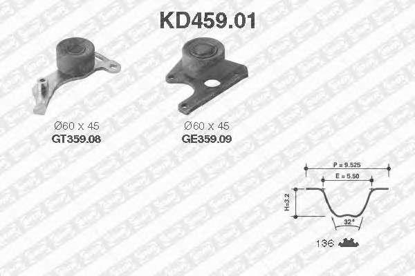 Запчасть KD459.01 SNR Комплект (ремінь+ролики) фото