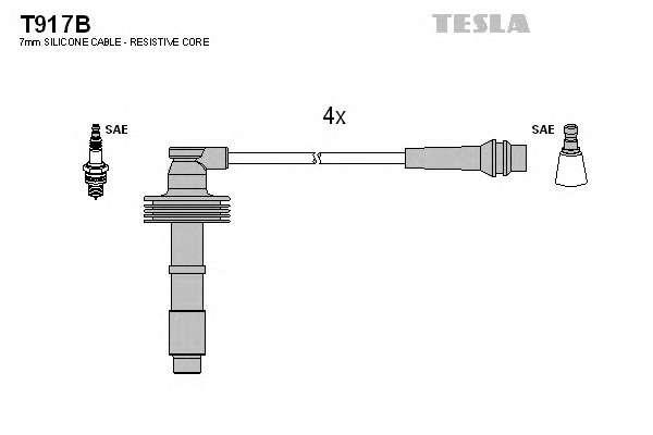 Запчасть T917B TESLA Комплект кабелiв запалювання фото