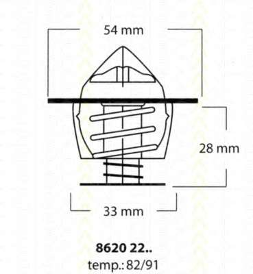 Запчасть 86202291 TRISCAN Термостат Ford Diesel,VAG,Opel фото