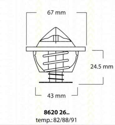Запчасть 86202682 TRISCAN Термостат с прокладкой DB Vario, 405-609D фото