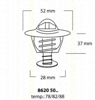 Запчасть 86205078 TRISCAN Термостат Honda Accord 2.2 2295 F22B4/B5 09/93- фото