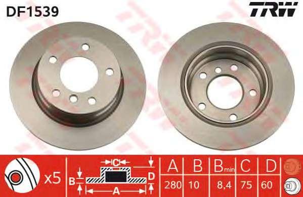 Запчасть df1539 trw Тормозной диск