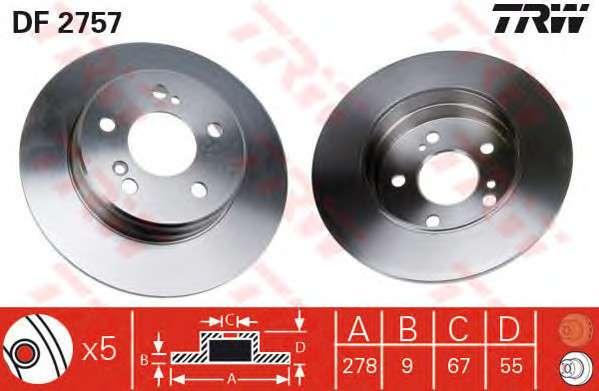 Запчасть df2757 trw Тормозной диск