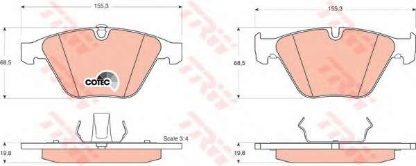 Запчасть GDB1498 TRW Колодка торм. диск. BMW 3 (E90), 5 (E60) передн. (пр-во TRW) фото