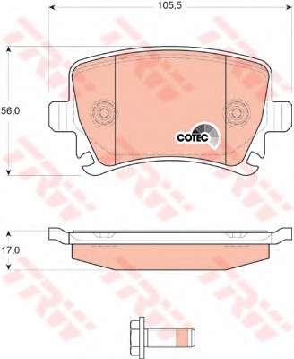 Запчасть gdb1622 trw Комплект тормозных колодок, дисковый тормоз