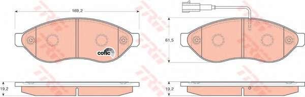 Запчасть gdb1681 trw Комплект тормозных колодок, дисковый тормоз