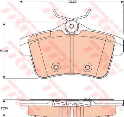 Запчасть GDB1828 TRW Комплект тормозных колодок, дисковый тормоз фото