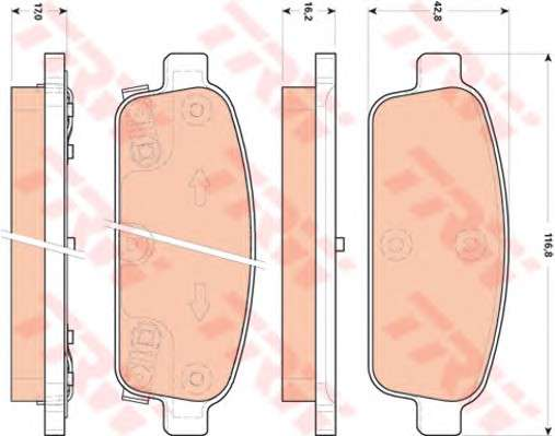 Запчасть GDB1844 TRW Колодка торм. диск. CHEVROLET CRUZE, ORLANDO передн./задн. (пр-во TRW) фото