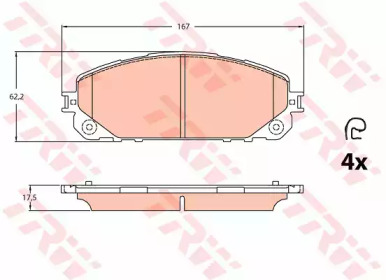 Запчасть gdb2094 trw Комплект тормозных колодок, дисковый тормоз